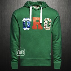 ~Jack & Jones Originals ORG Bastian Erkek Medium Green Printed Sweatshirt Hoodie
