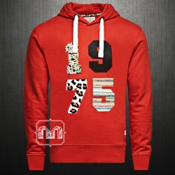 ~Jack & Jones Originals 1975 Bastian Erkek Spicy Orange Printed Sweatshirt Hoodie