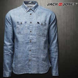 ~Jack & Jones Long Sleeve WILL Shirt In Blue Denim JJ