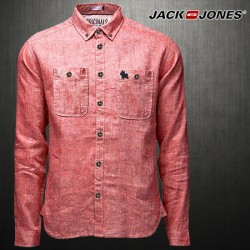 ~Jack & Jones Long Sleeve WILL Shirt In Light Red JJ