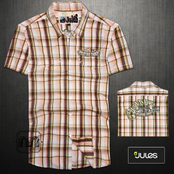 ~Jules Half Sleeves Checks Shirt With Embroidered Back Print & Two Pockets Across The Chest