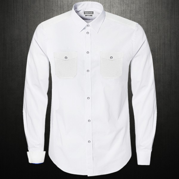 f1842019d ~Kenneth Cole Reaction White Double Pocket V Flap Shirt | Malaabes Online  Shopping Store in Egypt Promoting Original Mens Designer Clothing Brands