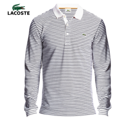 ~Lacoste Striped Double Face Long Sleeve Polo
