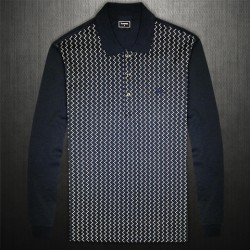 ~Lacoste Black Label Navy Full Sleeve Polo Shirt Front Pattern
