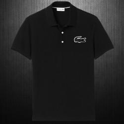 ~Lacoste Mens Slim Fit Big Crocodile Pique Black Polo Shirt Limited Edition