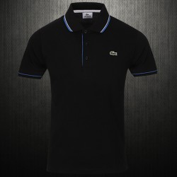 ~Lacoste Mens Slim Fit Tipped Collar Pique Black Polo Shirt