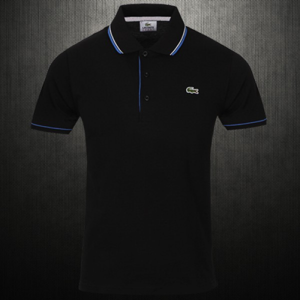 9e9b79862 Lacoste Mens Slim Fit Tipped Collar Pique Black Polo Shirt ...