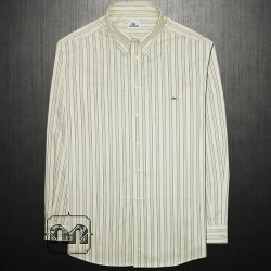 ~Lacoste Light Yellow Button Down Collar Multistripe Long Sleeve Cotton Shirt