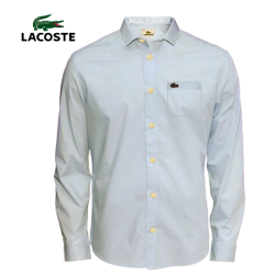 ~Lacoste Bold Buttons Classic Long Sleeves Blue Shirt