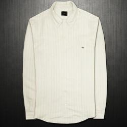 ~Lacoste Black Label Linen Mens Slim Fit Shirt Beige Light Stripes With Button Down Collar