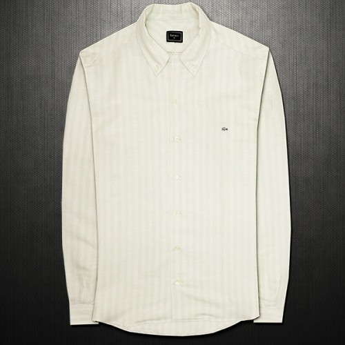 Lacoste Black Label Linen Mens Slim Fit Shirt Beige Light Stripes With Button Down Collar