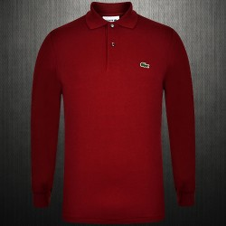 ~Lacoste Maroon Full Sleeve Classic Polo