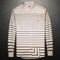 ~Lacoste Beige Multistripe Long Sleeve Cotton Shirt Limited Edition