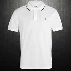 ~Lacoste Mens Regular Fit Tipped Collar White Pique Polo Shirt