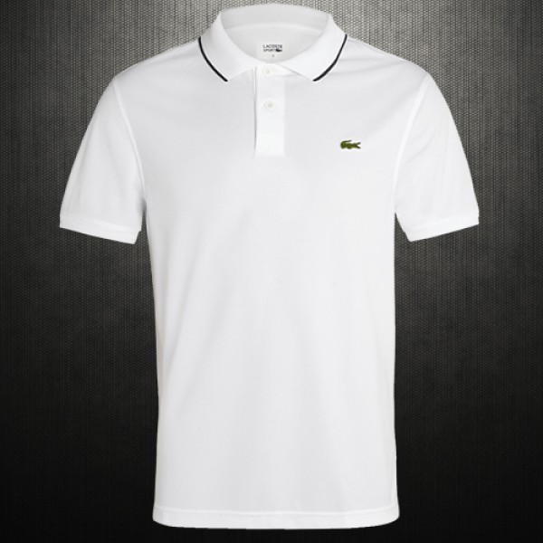 dd66185a3d58 Lacoste Mens Regular Fit Tipped Collar White Pique Polo Shirt ...