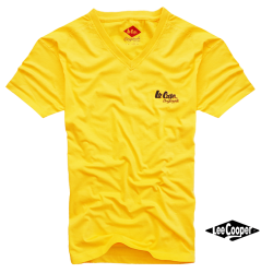 ~Lee Cooper Solid Yellow Vneck Tee With Brand Logo On Chest