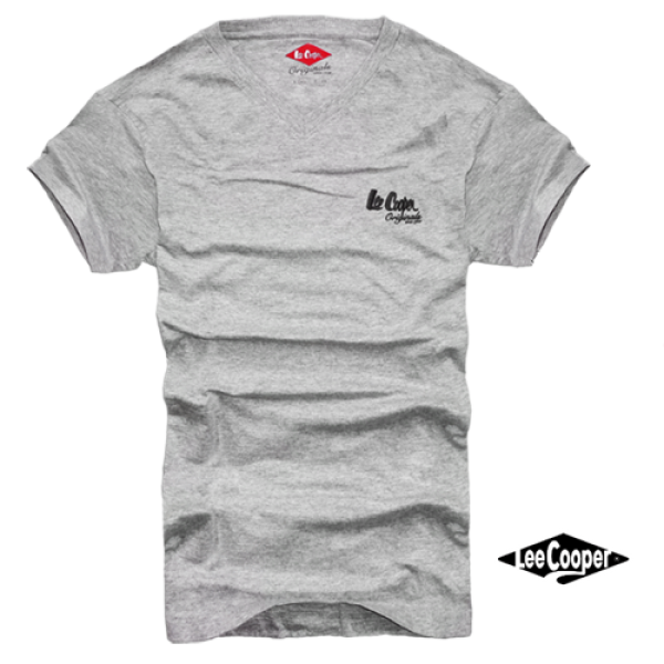 a8282d67 ~Lee Cooper Grey Mel Vneck Tee With Brand Logo On Chest | Malaabes Online  Shopping Store in Egypt Promoting Original Mens Designer Clothing Brands