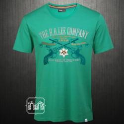 ~LEE Crewneck Printed Green Tshirt Crossed Guns Print