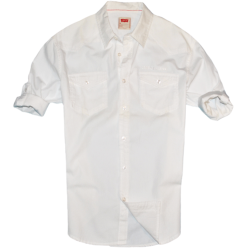 ~Levis Regular Fitted White Solid Rolled Up Full Sleeve Shirt
