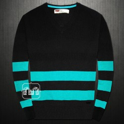 ~Levis Black Wool Vneck Sweater Jumper With Bold Green Stripes