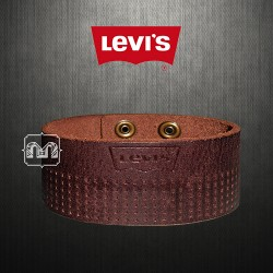 ~Levis Brown Genuine Leather Pillow Embossed Levis Logo Bracelet Cuff Wristband