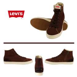 ~Levis Brown Hitop Sneaker With Lace And Zipper