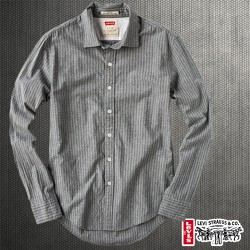 ~Levis Signature Full Sleeve Shirt In Striped Grey Color