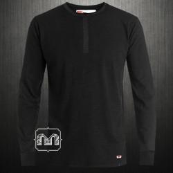 ~Levis Black Crewneck Henley Slub Sweatshirt Hidden Button Placket With Buttoned Cuffs