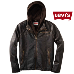 ~Levis Moto Trucker Vegan Genuine Leather Brown Jacket