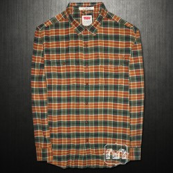 ~Levis Orange Green Plaid Long Sleeve Flap Buttoned Pockets Casual Shirt