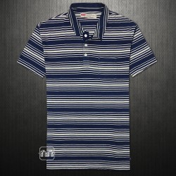 ~Levis Three Button Placket White Navy Striped Cotton Polo Tshirt With Chest Pocket