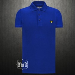 ~Lyle & Scott Navy Blue Pique Polo Shirt With Signature Chest Logo Embroidery