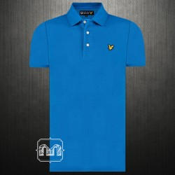 Lyle & Scott Royal Blue Pique Polo Shirt With Signature Logo Chest Embroidery