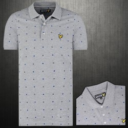 Lyle & Scott Archive Micro Print Grey Printed Pique Polo Shirt With Chest Logo Embroidery
