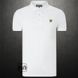 ~Lyle & Scott Solid White Pique Polo Shirt With Chest Logo Embroidery