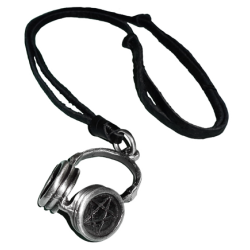 ~Malaabes DJ Earphone Necklace With Black Leather Strap