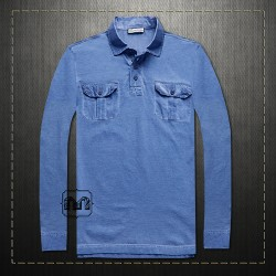 Mango Men Vintage Blue Washed Full Sleeves Collar Polo Tshirt  With Two Pockets Across The Chest