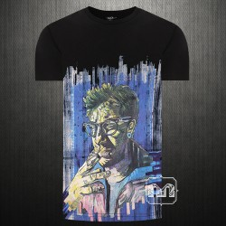 ~Mossimo Graphic Printed Black Tshirt Man Smoking Cigarettes