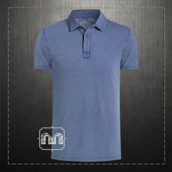 Napapijri Men Slim Fit Pique Blue Polo Shirt ETCH With Embroidered Chest Logo & Embroidered Collar