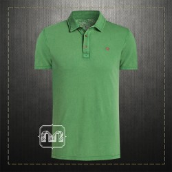 Napapijri Men Slim Fit Pique Green Polo Shirt ETCH With Embroidered Chest Logo & Embroidered Collar