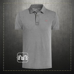 Napapijri Men Slim Fit Pique Grey Polo Shirt ETCH With Embroidered Chest Logo & Embroidered Collar