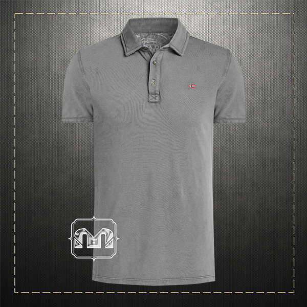 2bebcfed3a Napapijri Men Slim Fit Pique Grey Polo Shirt ETCH With Embroidered Chest  Logo & Embroidered Collar
