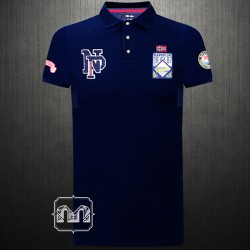 ~Napapijri Navy Blue Pique Embroidered Polo Shirt