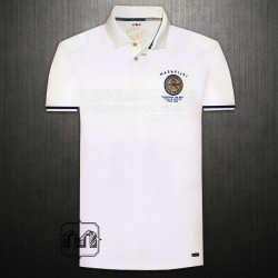~Napapijri White Pique Embroidered Polo Shirt With Flipped Printed Collar