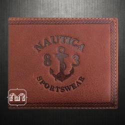 Nautica Mens Passcase ID Rich Tan Genuine Leather Wallet