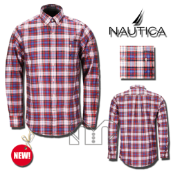 ~Nautica Buttondown Checkered Red & Blue Long Sleeves Shirt