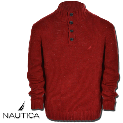 ~Nautica Mens Lofty Solid Button Mock Sweater