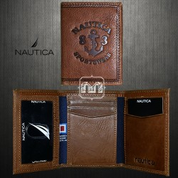 ~Nautica Gunwale Trifold Brown Genuine Leather Passcase Wallet