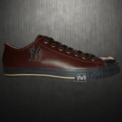 ~New York Yankees Brown Leather Padded Sneaker Shoes