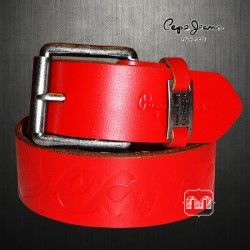Pepe Jeans London Red Genuine Leather Pillow Emboss Belt